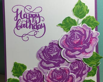 Birthday with Purple Roses Card