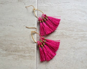 Tassel Teardrop Hoop Earrings Must Have Tassel Earrings Statement Tassle Earrings Fuschia Tassel Earrings
