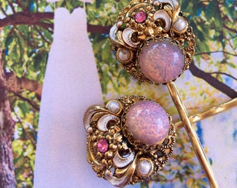 Pink Opal Enamel Filigree Hair Pins Vintage 1940 1950 Bridal Reign Jewelry West Germany Hairpins Bobby Pins