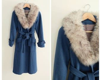 Vintage 1970s 70s Blue Shearling Collar Belted Jacket Coat
