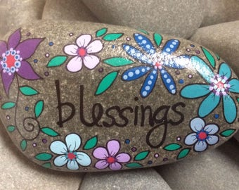 Happy Rock - Blessings - Hand-Painted Beach River Rock Stone - purple turquoise blue lilac violet flowers daisy pansy petunia