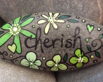 Happy Rock - cherish - Hand-Painted Beach River Rock Stone - green garden flower petunia daisy lime heart