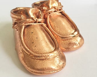 Vintage 70s Bronzed Baby Shoes