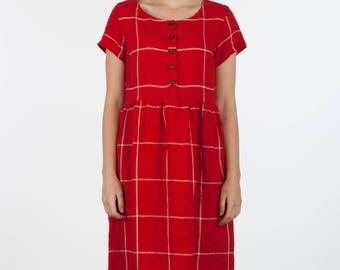 Cardinal red Linen, button up short sleeve, midi length dress