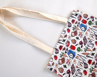 kitchen pattern handmade tote bag