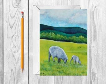 Watercolor Sheep Blank Greeting Card Set Mothers Day Card Watercolor Card Farm Animal Card Sheep Notecards All Occassion Card Thank You Card