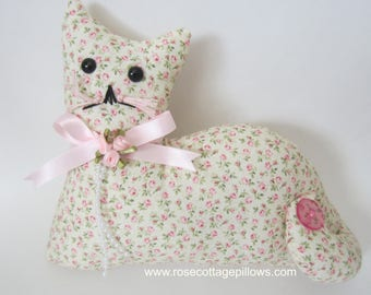 Large Cat Doll, Pink Rose Cat, Pillow Tuck, Cottage Chic Cat, Cat Shape Pillow, Shelf Sitter, Stuffed Cat, Country Floral Cat