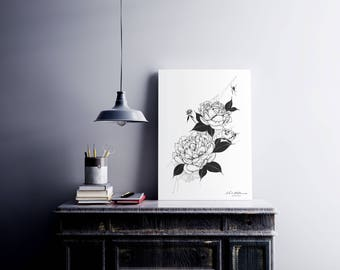A4 Illustrated 'Peony' Black and White Print