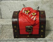 Mimic Monster Dungeons And Dragons Storage Desk Organizer Treasure Chest Trinket Stash Box Red Leather Harry Potter Labyrinth 20