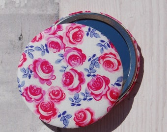 Liberty Fabric Covered Pocket Mirror Kasia Pink & Blue