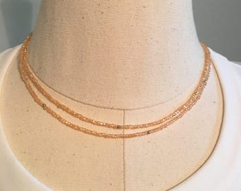 Dainty Pink Champagne Crystal Double Wrap Choker Necklace
