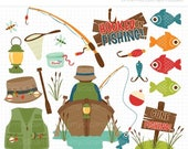 40% OFF - Fishing Clipart - father's day, fishing tackle, camping, boat, fishing rod, fisherman, vector graphics, digital clip art, commerci