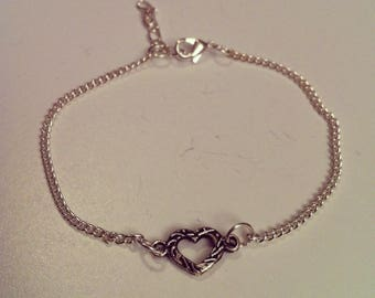 Silver plated chain with small heart bracelet