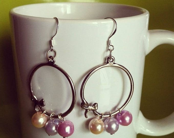 Silver Pearl Earrings pink and purple
