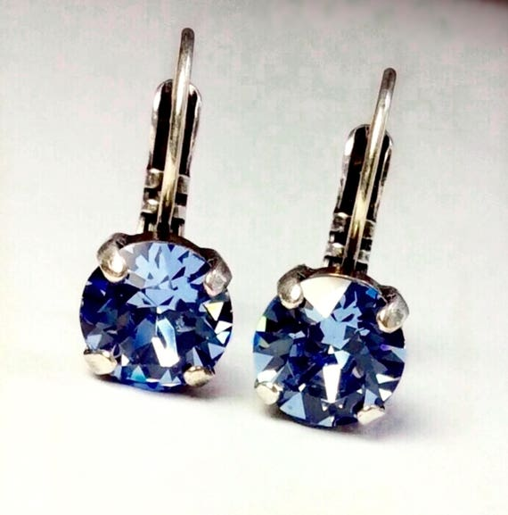 Swarovski Crystal 8.5mm Lever- Back Drop Earrings - Classy - Light Sapphire - OR Choose Your Favorite Color and Finish -  FREE SHIPPING