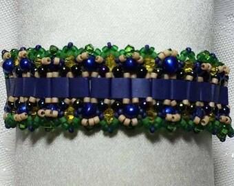 Blue Beaded Bracelet Green Beaded Bracelet Bead Woven Bracelet Beaded Bracelet Seed Bead Bracelet Hand Beaded Bracelet Beadwork Bracelet