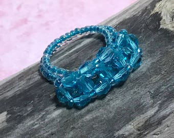 Blue Crystal Ring Crystal Beaded Ring Seed Beaded Ring Size 7 Beaded Ring Beaded Ring Beadwoven Ring Beadwork Ring Peyote Ring Woven Ring