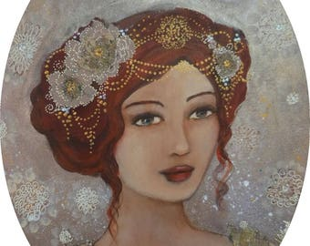 Romantic painting woman portrait on an oval canvas with lace.