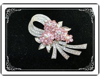 Lushish Vintage Pink Floral Rhinestone Brooch -Gorgeous Pink Flowers w Rhinestone Ribbons - Pin-1953a-072417015