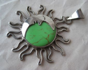 Turquoise Man Moon Sun Sterling Pendant Green Stone Silver Vintage 925 Mexico