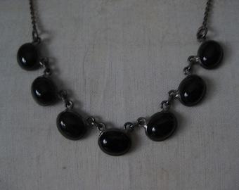 Black Cab Sterling Necklace Vintage 925 Silver Glass 7 Seven