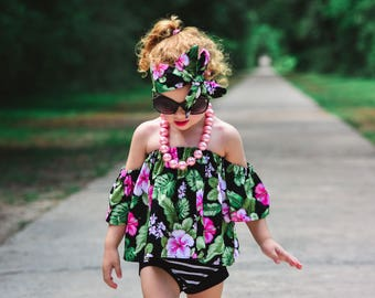 Tropical Hawaiian Floral Crop Top Tube Top Cold Shoulder Off The Shoulder Girls Baby Toddler Top