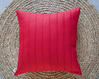 Red throw pillow with lines, linen pillow, decorative pillow, throw pillow, euro sham