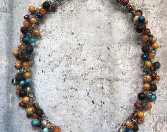 Beaded Wire Crochet Necklace
