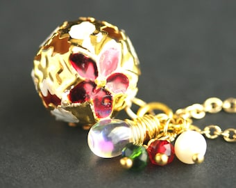 Holiday Bell Necklace. Christmas Necklace in Red and Green. Gold Bell Necklace. Holiday Necklace. Poinsettia Necklace. Handmade Jewelry.