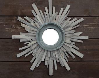 Art Deco Beachy Starburst Mirror, Driftwood Sunburst Mirror, Industrial MADE to ORDER