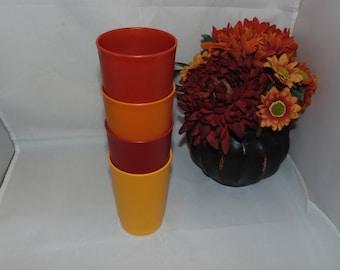 VINTAGE TUPPERWARE 1320 Set Of four 8 Oz TUMBLERS Cups Harvest orange red yellow