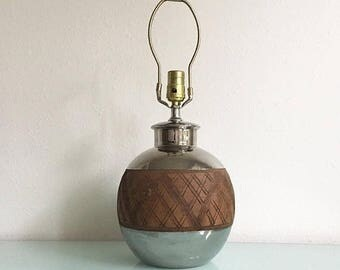 ON SALE Mid Century Bitossi Metallic and Brown Glazed Accent Lamp