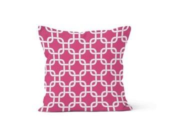 Pink Lattice Pillow Cover - Gotcha Candy Pink - Many Sizes Lumbar, 12, 14, 16 - Zipper Closure - sc246l