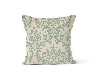 Blue Damask Pillow Cover - Traditions Village - Lumbar 12 14 16 18 20 22 24 26 Euro - Hidden Zipper Closure