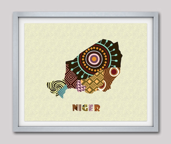 Niger Map Art Print Wall Decor, Niger Poster African Art Print, Niamey Niger West Africa, African Map Poster