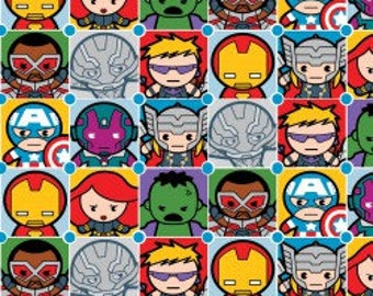 Kawaii Fabric, Kawaii Character Tiles, Marvel Avengers, Japanese Cute Faces, Quilting Cotton, By the Half Yard