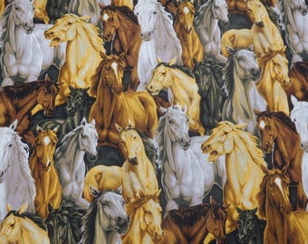 Horse Fabric, Packed Horses, Horse Quilting Cotton - By the Half Yard