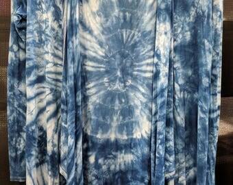 Tie Dye Hoody with Trendy Assymetrical Hem OOAK