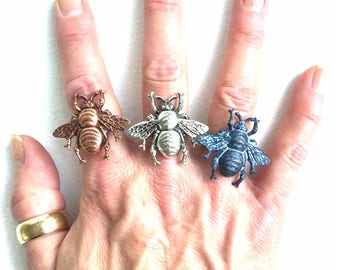 Big Beautiful Honey Bee Rings on Black Plated Adjustable Base in Rose Gold, Black and Antique Silver Finishes