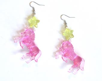 Pink Unicorn and Yellow Glitter Star Earrings