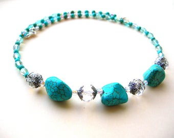 20 Inch Bohemian Bead Necklace - Glass Bead Necklace - Southwestern Turquoise Howlite Beads