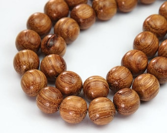 Bayong Wood Beads for Malas, Light Brown, 12mm Round - 15.5 inch Strand - eW585-12