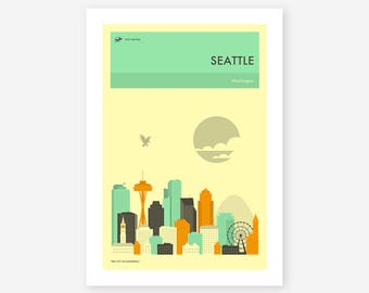 SEATTLE TRAVEL POSTER (Giclée Fine Art Print, Photo Print or Poster Print) by Jazzberry Blue