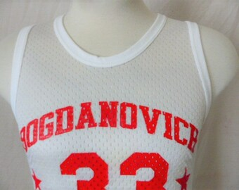 vintage 80's Bogdanovich All-Stars #33 white nylon mesh basketball jersey tank top sleeveless graphic t-shirt singlet don alleson medium