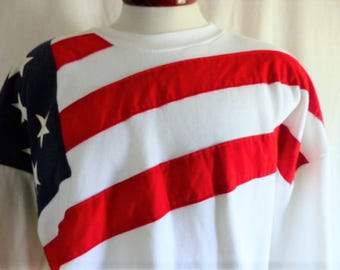 Go U.S.A. vintage 90's American flag stars and stripes white fleece graphic sweatshirt red white blue US flag crew neck made in usa Large