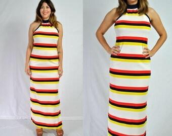 1970s Striped Maxi Dress