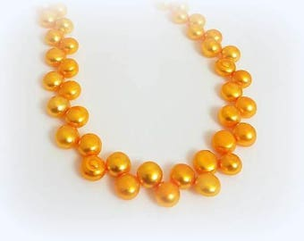 Orange Freshwater Pearl Choker Necklace Magnetic Clasp Necklace Short Beaded Tangerine Pearl Jewelry Necklaces for Women Gift for Her