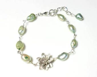Pale Green Freshwater Pearl Silver Flower Bracelet Beaded Chain Bracelet Floral Blossom Nature Jewelry Gifts for Her Bracelets for Women