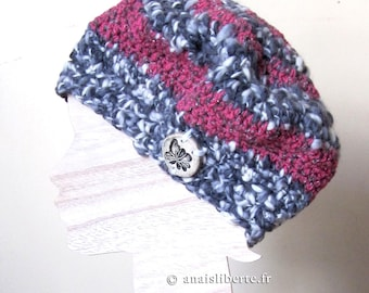 Hat - eco-friendly and ethical grey and pink