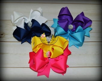 Set of 3 Half & Half Boutique Style Bows - Hairbow - Hair Bow - Large Bows - Solid Bows - Combo Bows - OTT - Over the Top - Layered Bows